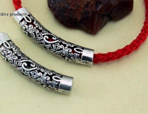 Разделительная трубка из тибетского серебра 10 шт./лот, разделительные бусины, соединители для изготовления ювелирных изделий своими руками, браслет dg4s