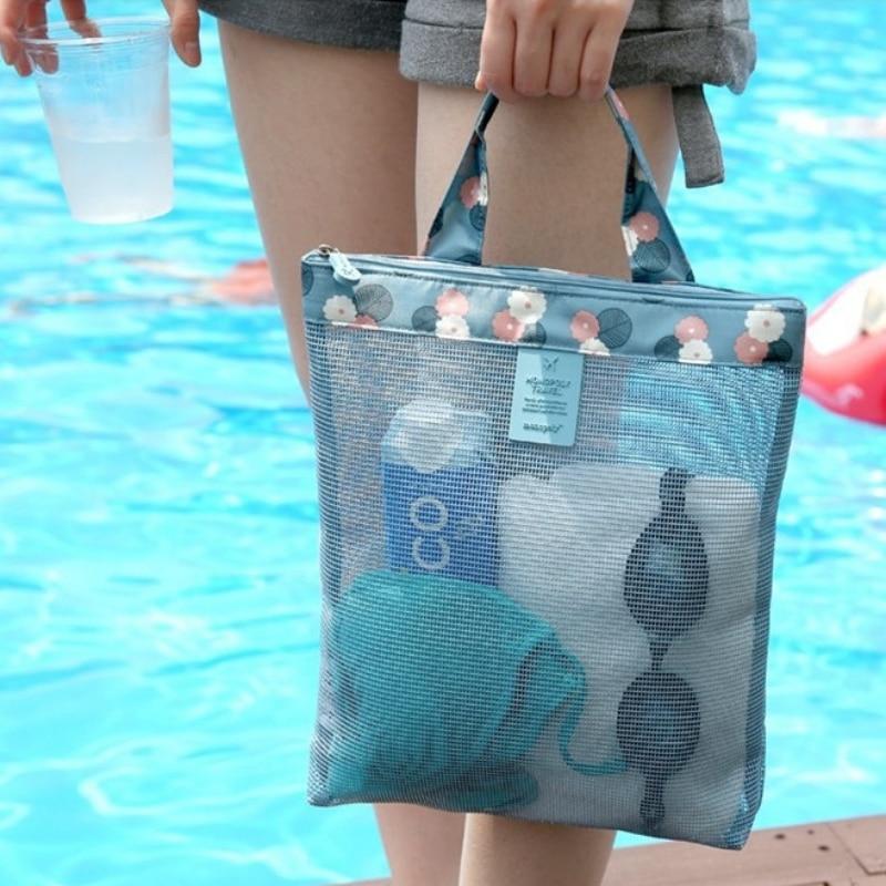 Bolsa de malla transparente para hombres y mujeres, bolsa de almacenamiento de zapatos de gran capacidad, bolsas de playa para Picnic, bolsas de gimnasio para natación, bolsas de mano deportivas Outdoot