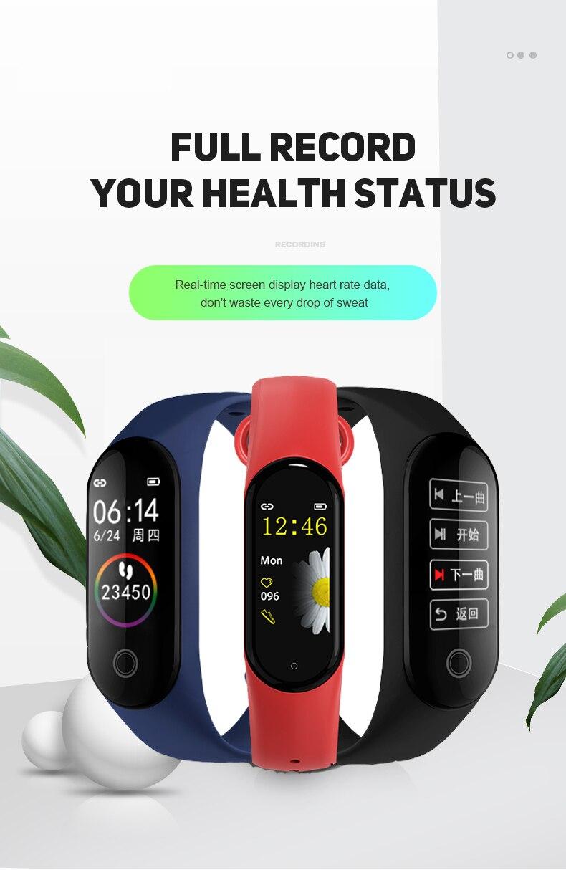 Version mondiale et lanague montre intelligente Bracelet Bracelet fréquence cardiaque Fitness écran couleur Bluetooth 5.0 Bracelet de sport intelligent