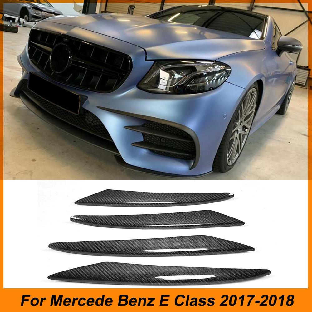 Fibra de carbono ventilaciones de parachoques delantero cubierta de luz antiniebla embellecedor para Mercedes Benz Clase E C238 E300 E400 E43 AMG 17-18 fit sport only