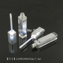 10/30/50pcs 7.5ml 빈 메이크업 DIY 립글로스 병 블랙/실버 스퀘어 립글로스 튜브 LED 라이트 미러 Labial glair 병