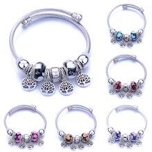 Pulsera de abalorios de metal elástico de moda Four Round Tree of life, pulsera de cadena de 6 colores, pulsera de cuentas, se ajusta a la joyería