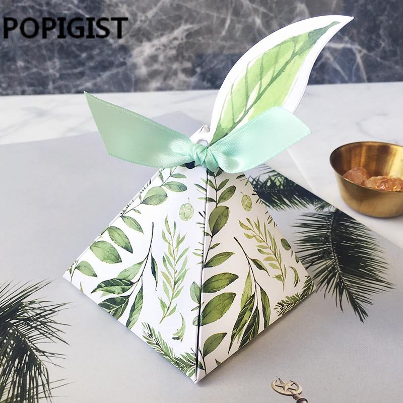 صندوق هدايا الزفاف من Bomboniera ، على طراز الغابة الخضراء ، مثلث ، على شكل هرم ، أوراق الشجر ، علب الحلوى ، بطاقات الأوراق ، الشريط