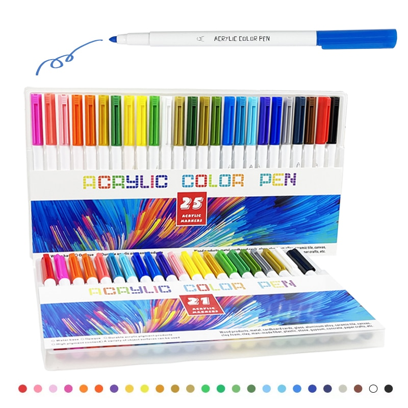 21-25COLORS Acrylic Paint Markers - Acrylic Paint Pens for Rock Painting, Stone, Ceramic, Glass, Wood, Canvas недорого