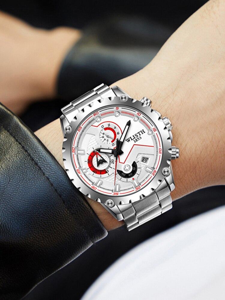 New top brand steel band watch personality multi-function sports men's watch waterproof calendar student watch quartz watch