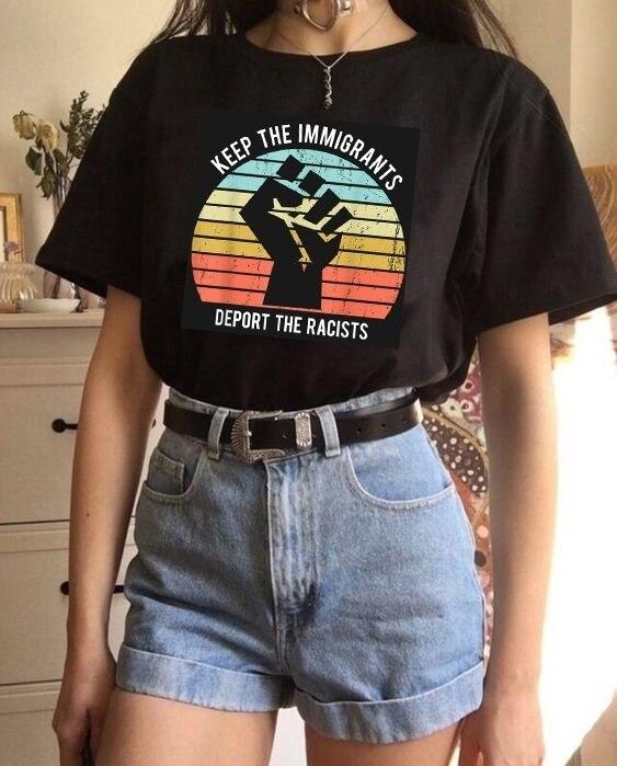 HAHAYULE-JBH La inmigrantes deportar a los racistas camiseta