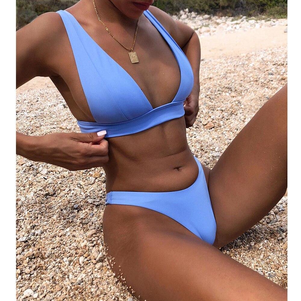 2021 sexy solid bikini set women swimsuit push up swimwear female bikini set brazilian bathing suits adjustable beach swimsuit Bikini 2021 Solid Swimsuit Women Swimwear Push Up Bikini Set Brazilian Bathing Suit Summer Beach Wear Swimming Suit XL