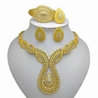 fashion nigerian woman wedding african beads jewelry set gold color big exaggerated necklace earrings set jewelry party bridal