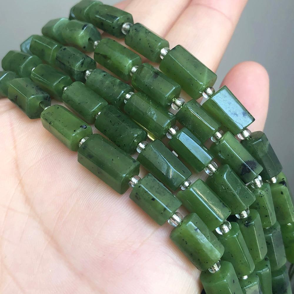 7x10mm Canadense Jades Facetada Verde Natural Contas de Pedra Cilindro Soltos Spacer Beads Para Fazer Jóias DIY Pulseira colar