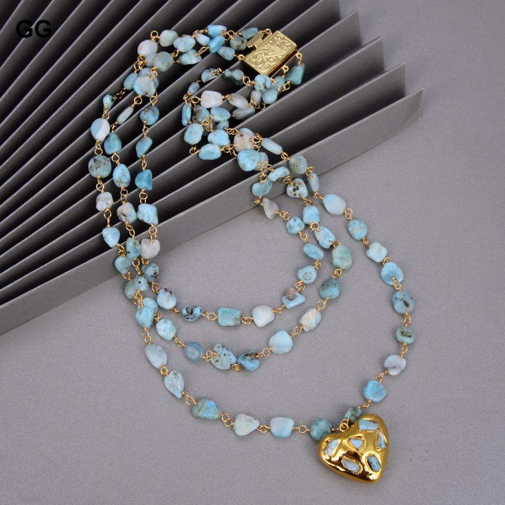 GuaiGuai مجوهرات 3 السواحل الطبيعية الأزرق Larimars الوردية سلسلة قلادة القلب-على شكل اريمار قلادة بيان قلادة للنساء