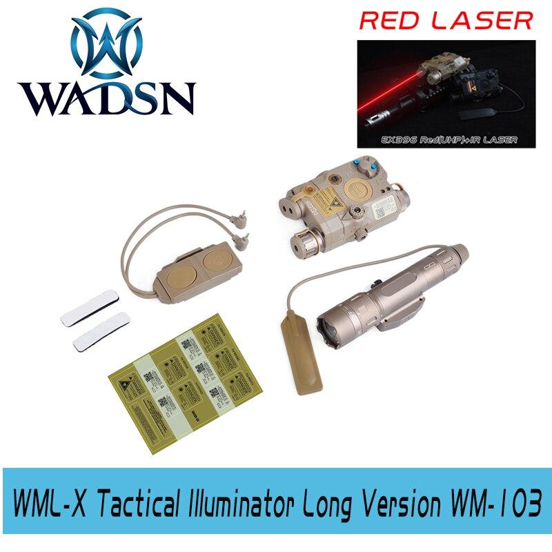 El kit de accesorios Wadsn BLOCK III incluye LA-5C/PEQ 15 láser rojo WMX 200 linterna interruptor doble (WEX396 + NE04014 + WEX177)
