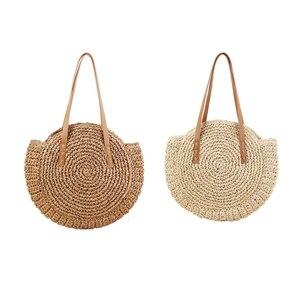 2 Pcs Round Straw Beach Bag Vintage Handmade Woven Shoulder Bag Raffia Circle Rattan Bags Bohemian Summer Vacation Casual Bags,