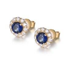 Earrings For Women Latest Design 18K Yellow Gold 100% Natural Sapphire Gemstone SI Diamonds Female Stud Earrings Jewelry Gift