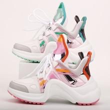 Vente chaude chaussures de mode arquées Ultra respirant maille en cuir chaussures décontractées à lacets formateurs marque Styles de rue femmes baskets
