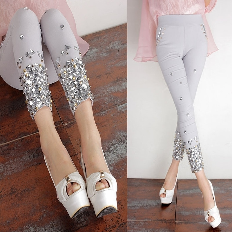 2020 Summer New Fashion Women's Pants Hand-Stitched Super Shiny Rhinestone Pants Light Gray Large Size Wear Leggings Plus Size