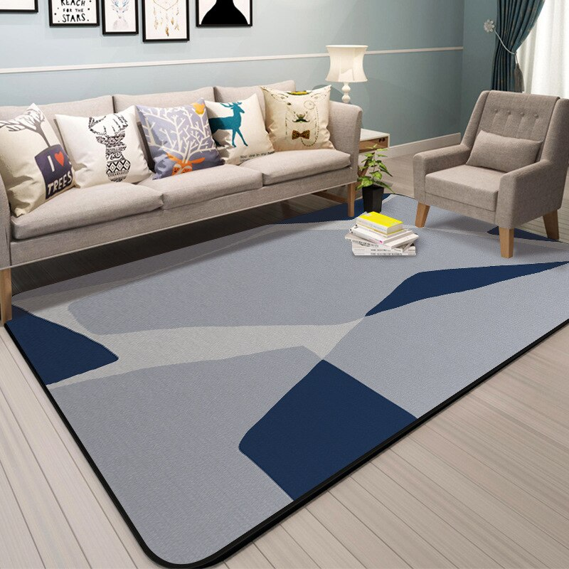 سجادة هندسية بسيطة حديثة على الطراز الاسكندنافي ، مثلث أزرق رمادي أبيض ، لغرفة النوم وغرفة المعيشة ، سجادة قابلة للتخصيص ، 200 × 300 سنتيمتر