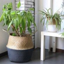 Cestini portaoggetti in bambù fatti a mano pieghevole lavanderia paglia Patchwork vimini Rattan Seagrass pancia giardino vaso da fiori fioriera cesto