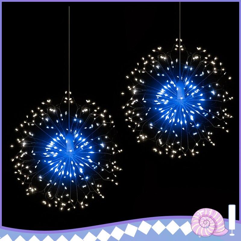 120 LED al aire libre IP65 bola estelar colgante cuerda de luz fuegos artificiales cobre luces Navidad cuerda feérico Navidad luces de Control remoto