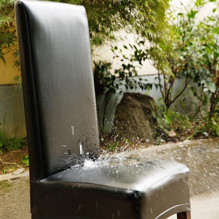 Funda para asiento de silla elástica de piel sintética de LICRA resistente al agua, funda moderna para decoración de banquete de fiesta negra y roja, funda para asiento de comedor D30