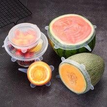 6 sztuk/zestaw żywności pokrywa silikonowa kuchnia narzędzie uniwersalna pokrywka silikonowa naczynia miska Pot wielokrotnego użytku Stretch pokrywy akcesoria kuchenne
