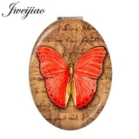 youhaken red butterfly vintage clock oval pocket folding mirror darwin biological evolution theory moive travel mirror d1249