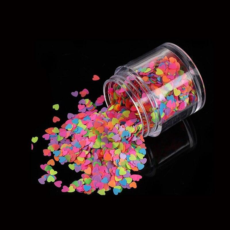 Смешанный цвет неоновый дизайн для ногтей блестящее Сердце 3D форма ногтей декор с блестками