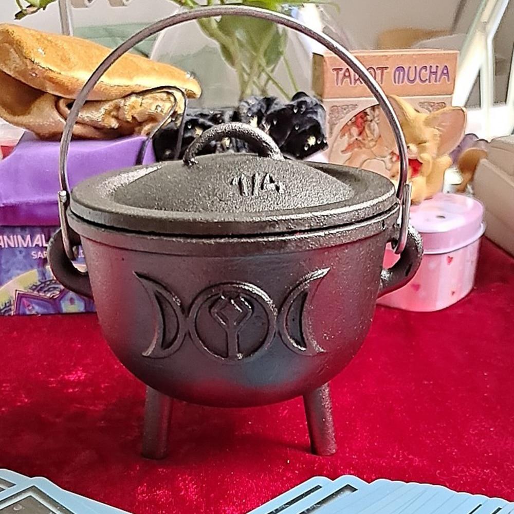 WICCA-وعاء ساحر ثلاثي ، إلهة سحرية ، طاولة شمع بوتقة ، وعاء حرق بثلاثة أرجل