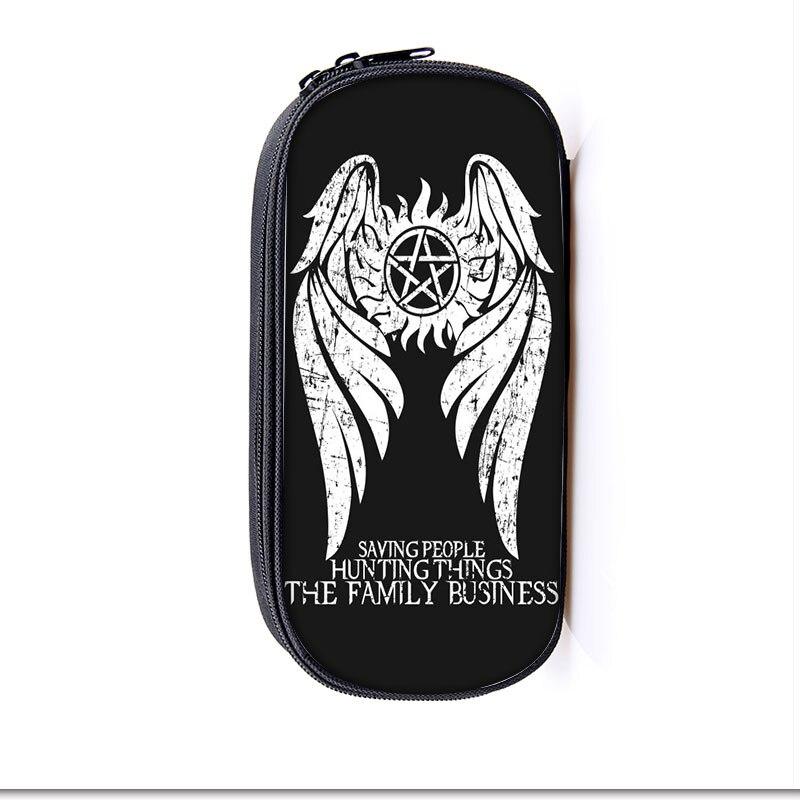 Estuches cosméticos sobrenaturales portalápices niños niñas bolsas estacionarias Demon Hunter Winchester Bros estuche escolar suministros para niños