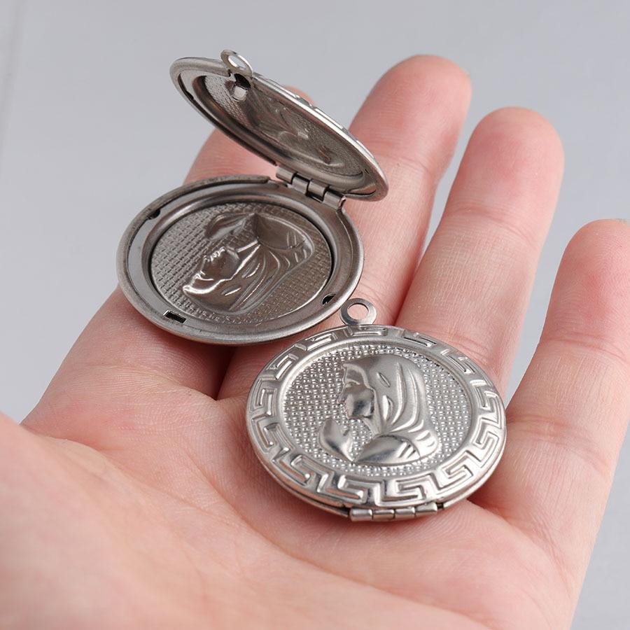 Medallón colgante de acero inoxidable con foto de la Virgen María, espejo...