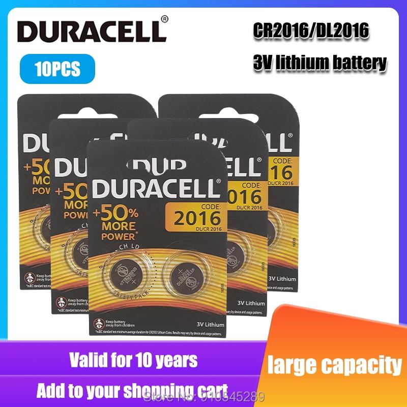 10 pces originais duracell cr2016 dl2016 dlcr 2016 3v baterias de lítio para brinquedos de relógio calculadora peso escala botão pilha bateria
