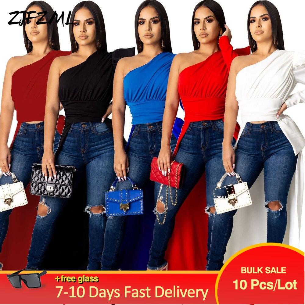 Bulk Items Wholesale Lots Women's Irregular Top Sense of Design Front Short Back Long T Shirt Early Autumn Mujer Skinny T-shirts