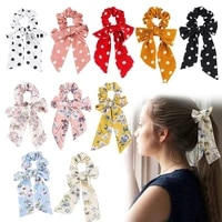 2021 new trend print bows ponytail holder candy color womenlong ribbon ponytail scarf hair ties ponytail holder hair accessories