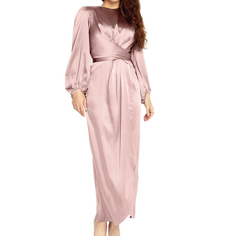 Women Arab Muslim Satin Puff Long Sleeve Maxi Dress Solid Cross Wrap Front Self-Tie Waist Abaya Duba