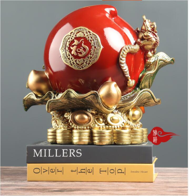 Hucha con forma de manzana PEACH creativa china, decoración de resina, accesorios de escritorio para porche de casa, figuritas artesanales para HOTEL