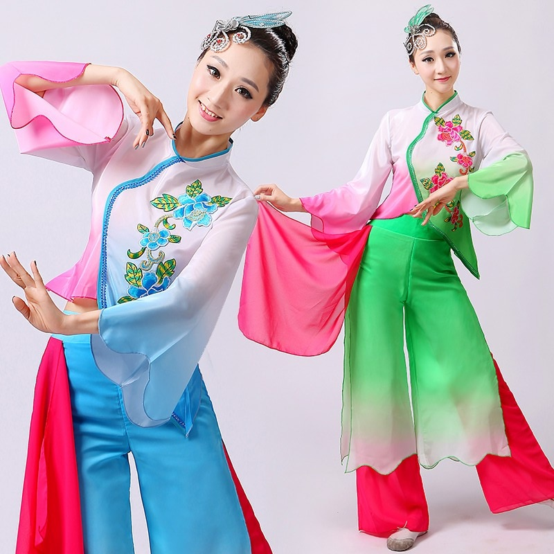 Chinese style hanfu yangko dance clothes squares fan dance national dance clothes stage  dance costume chinese style hanfu yangko dance clothes squares fan dance national dance clothes stage dance costume