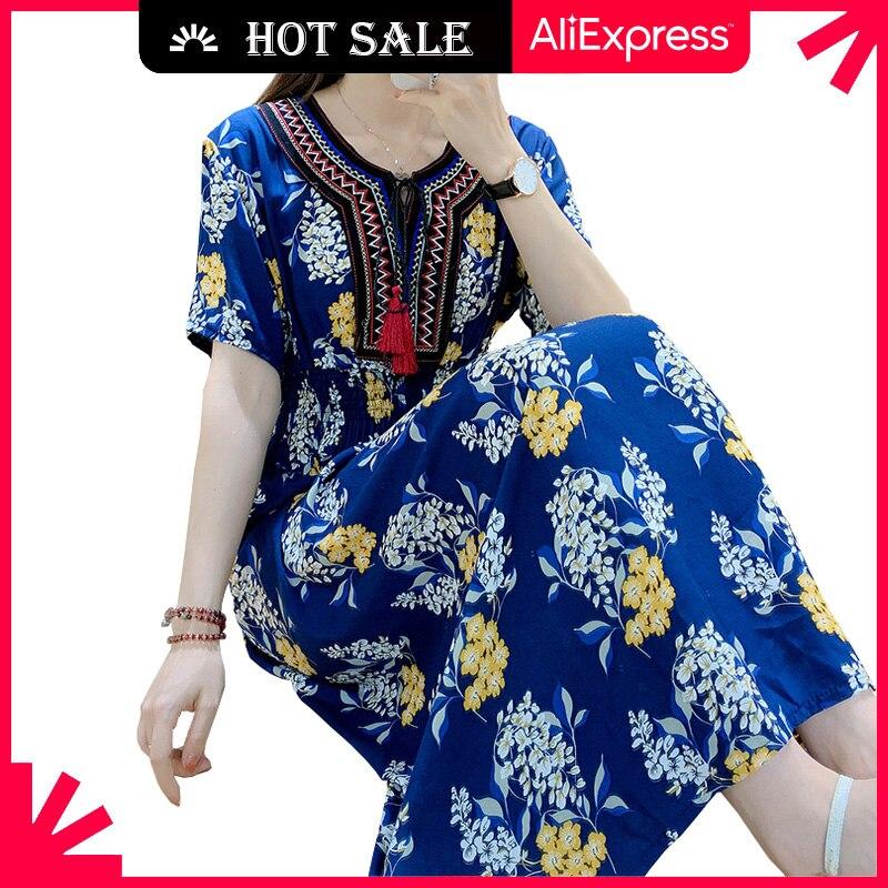 MOVOKAKA Fashion Floral Print Blue Dress Women 2021 Tassel Prom Casual Vintage Long Dresses Summer B