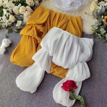여자 가을 2019 새로운시 폰 패션 긴 pleated 랜 턴 슬리브 섹시 한 셔츠 레이디 솔리드 컬러 블라우스 짧은 자르기 탑스 j600