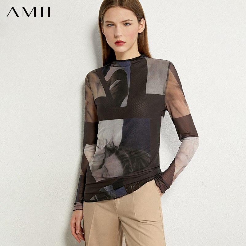 AMII Minimalism otoño moda estampada Mujer camisa Tops Causal Slim Fit camisa femenina de manga completa 12020352