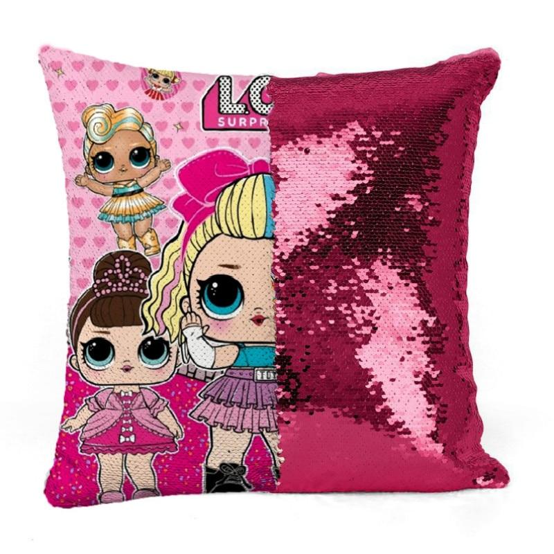 40*40cm Lol surprise LOL Doll New pillow case two color sequins cartoon pillow case lol animation surprise doll cushion cover