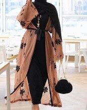 Élégant musulman imprimé Abaya Cardigan Maxi robe Kimono longues Robes femmes Vestidos moyen-orient Ramadan turc prière islamique