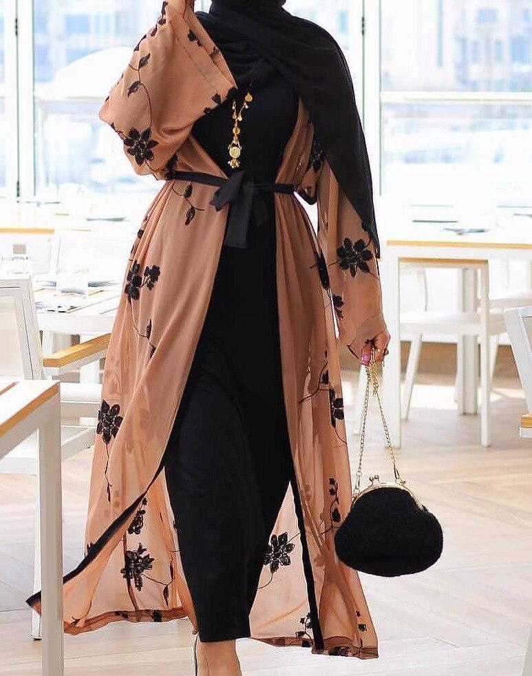 Elegante muçulmano impressão abaya cardigan maxi vestido quimono longo robes feminino vestidos oriente médio ramadan turco oração islâmica