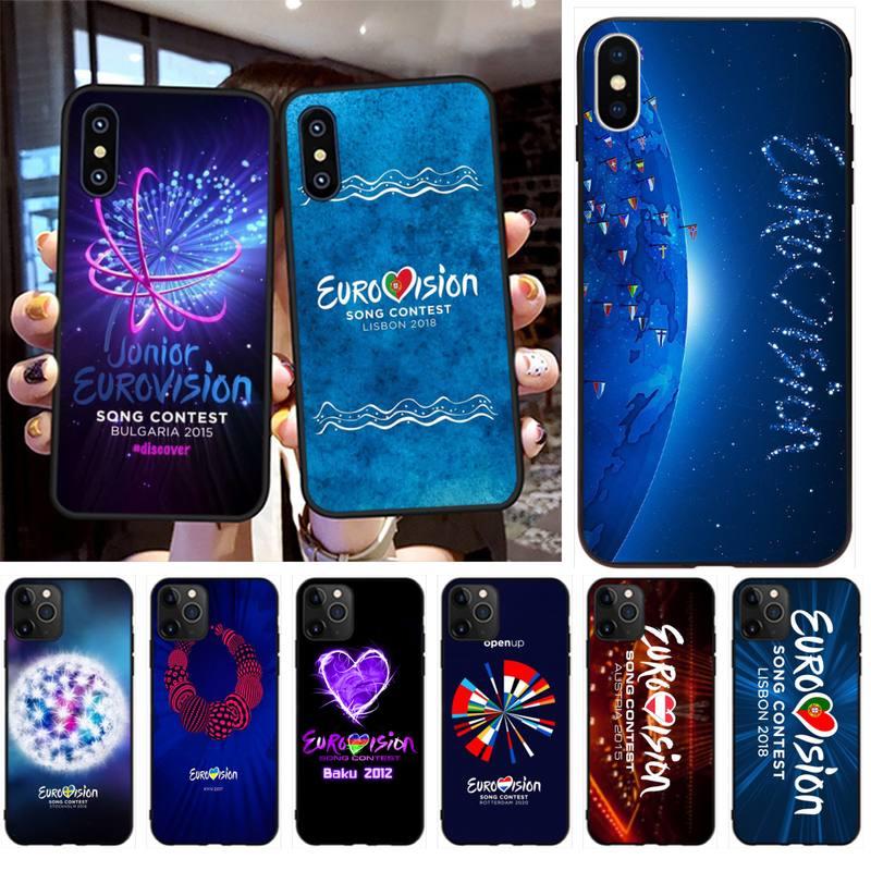 HPCHCJHM Eurovision, carcasa de teléfono Bling pintada DIY para iPhone 11 pro XS MAX 8 7 6 6S Plus X 5S SE XR, funda