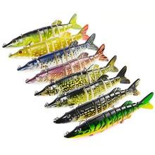 Nettoyage Stock leurres de pêche appâts artificiels réaliste multi-joint 9 segments brochet 12.5cm 8 couleurs ferme Durable 20g
