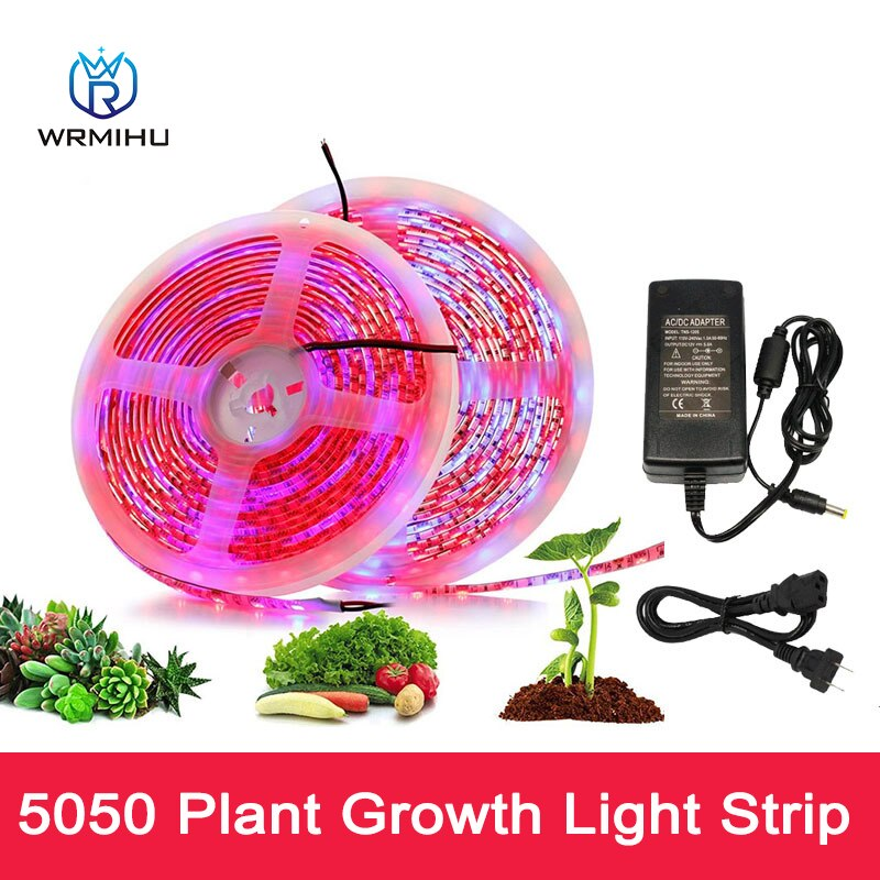 5050 5M Led Plant Growth Soft Light 4 Red 1 Blue Plant Supplement Light Growth Light Strip + 12V 5A Power Supply