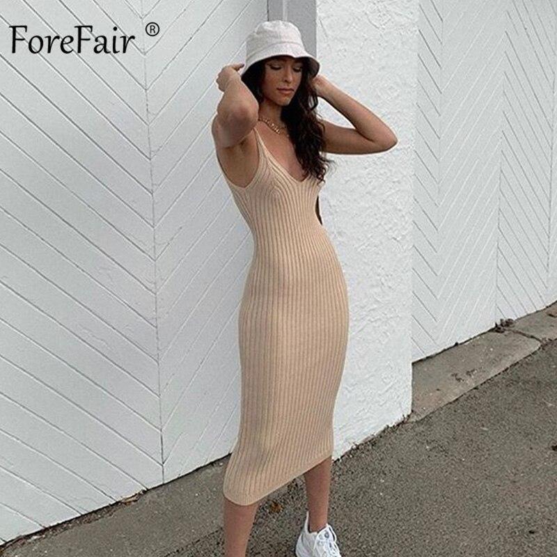 Vestido de mujer Forefair tejido Sexy ceñido al cuerpo hasta la rodilla de verano de color caqui con cuello en V y hombros descubiertos vestido de punto sólido de otoño para mujer