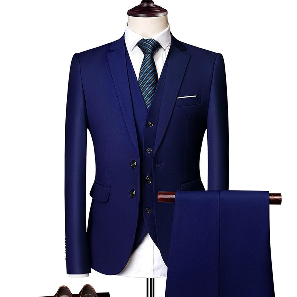 Trajes formales para hombres de Color puro moda de negocios Casual banquete chaqueta de traje de hombre + chaleco + pantalones tamaño 6XL trajes de 2/3 piezas para boda