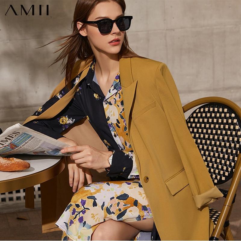 Amii بساطتها الربيع الخريف موضة السترة المرأة الرسمية سيدة التلبيب الصلبة سترة نسائية بدلة أنثى معطف القمم 12130007