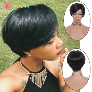 X-TRESS Pixie Cut Wig with Bangs Natural Black Straight Short Bob Wigs for Black Women Machine Made Synthetic Party Cosplay Wigs