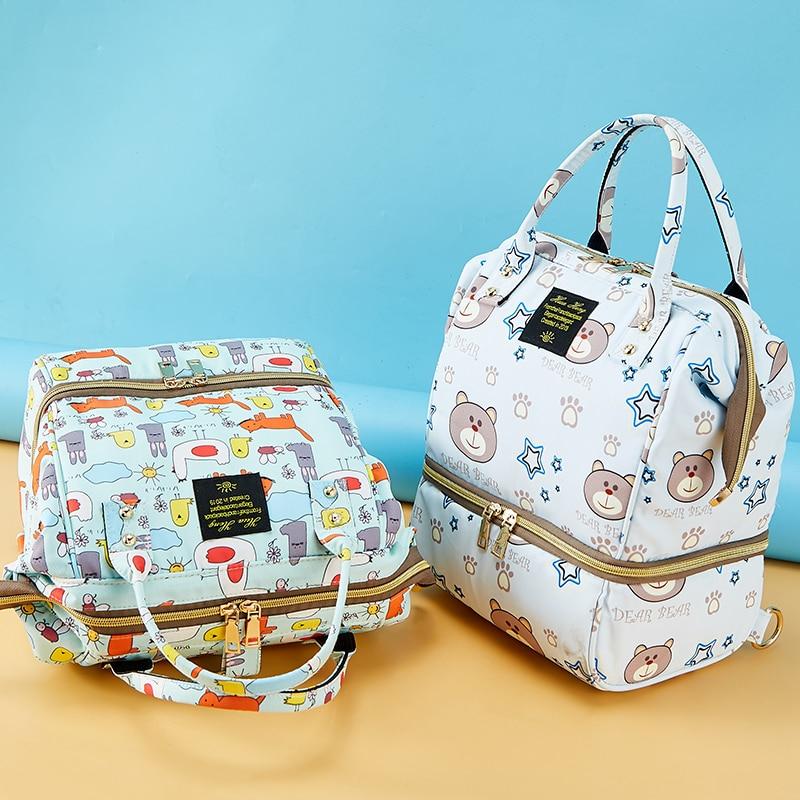 حفاضات الطفل حقيبة صغيرة Mummy الأمومة حقيبة الظهر للطفل السفر مقاوم للماء الكرتون الدب الحفاض تغيير حقيبة عربة المنظم