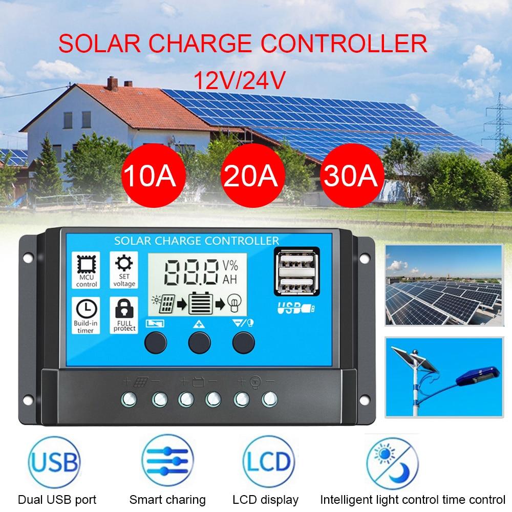 Controlador Solar 10A/20A/30A, controlador de carga Solar automático, controladores PWM, USB Dual LCD, 5V de salida, regulador de Panel Solar